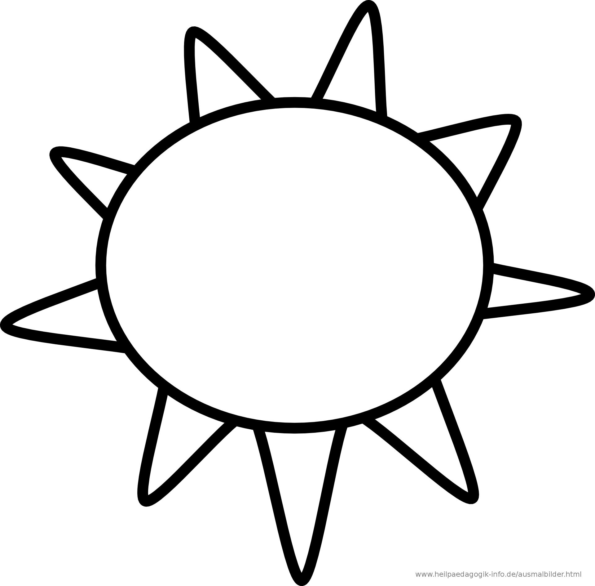 Ausmalbilder Sonne bei Bastelvorlage Sonne
