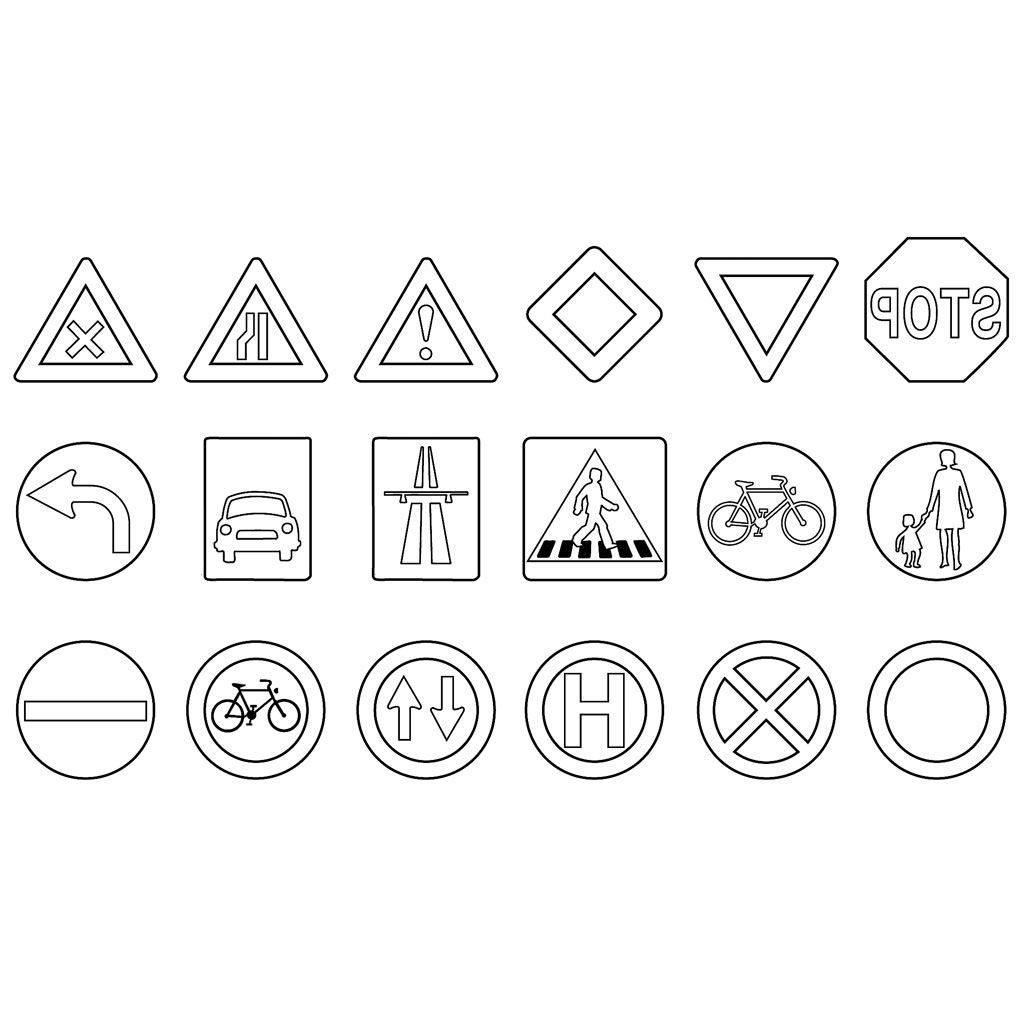 Ausmalbilder Verkehrszeichen - 1Ausmalbilder für Verkehrsschilder Zum Ausmalen