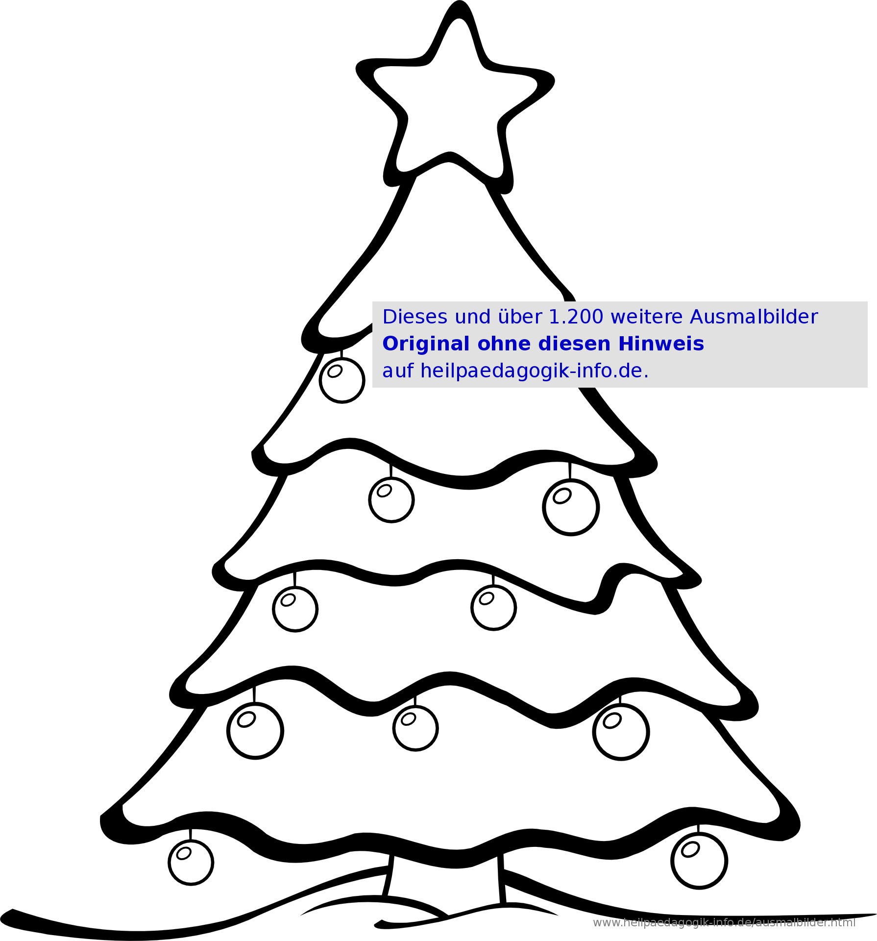 Ausmalbilder Weihnachten für Weihnachtsbaum Malvorlage