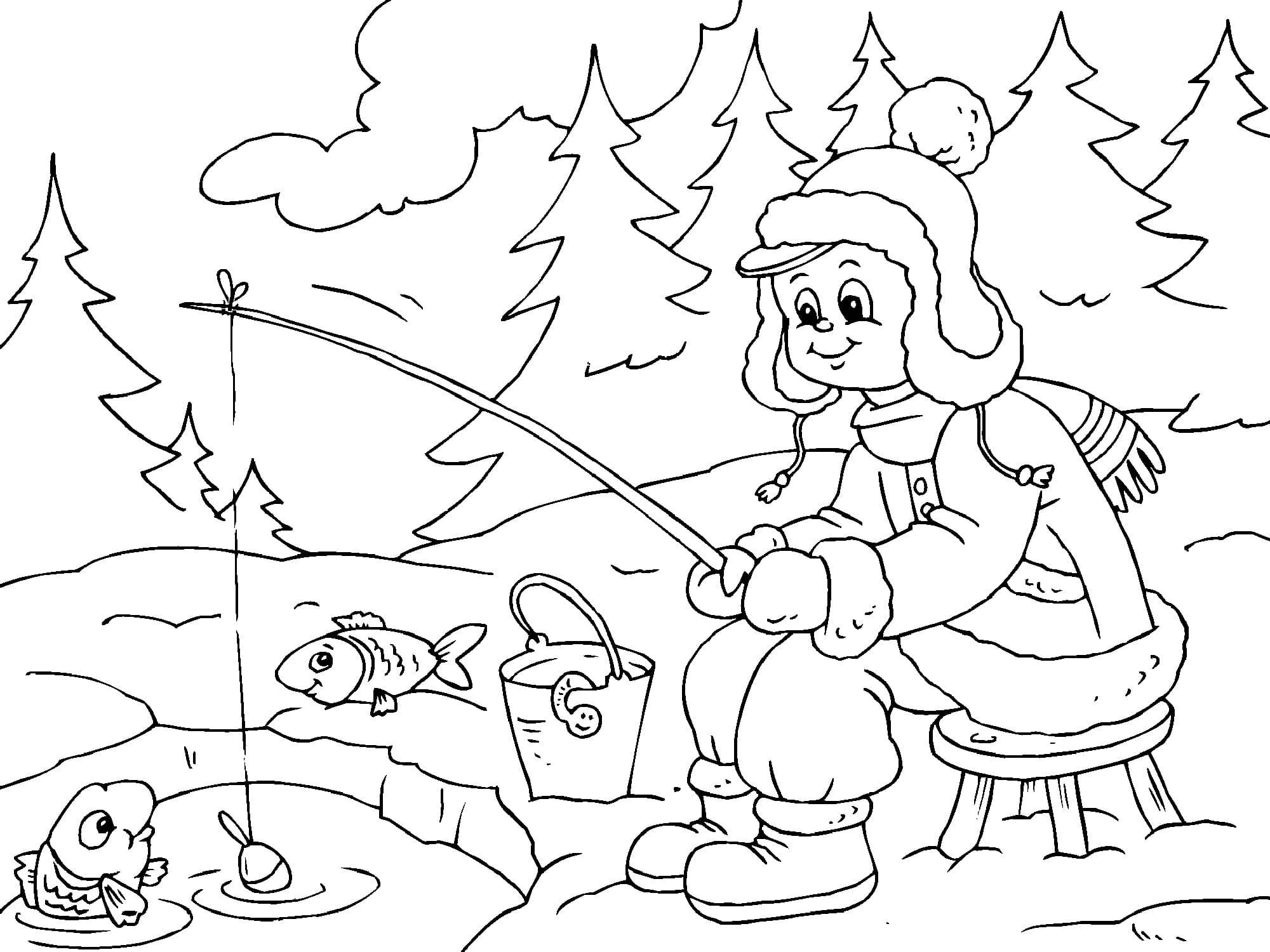 Ausmalbilder Winter. Kostenlos Drucken, 100 Bilder bei Winterlandschaft Malvorlage
