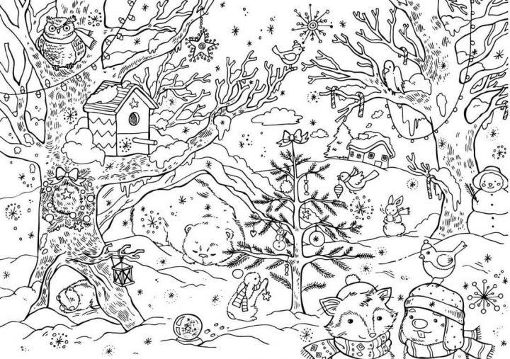 winterlandschaft malvorlage  kinderbilderdownload