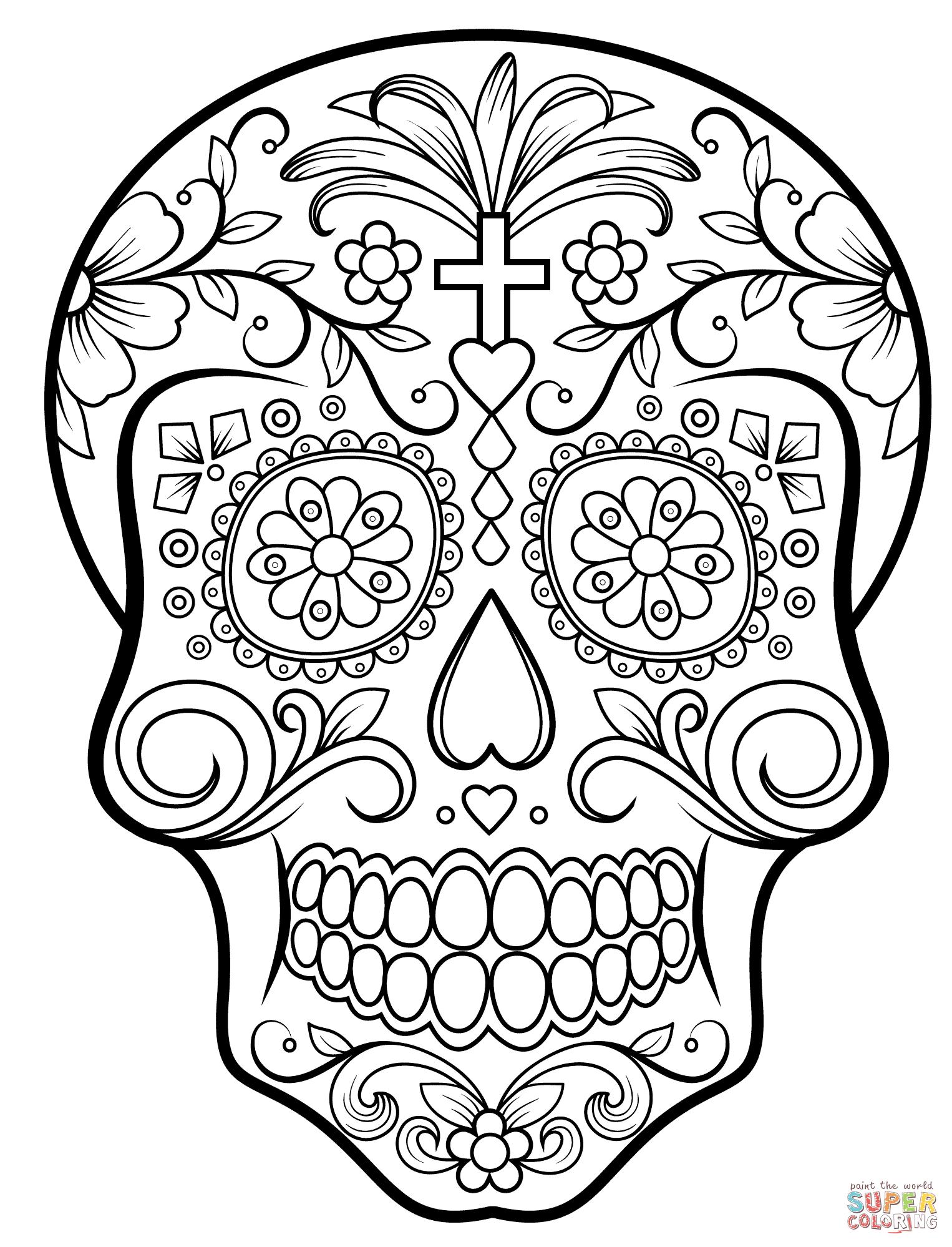 Ausmalbilder Zucker Schädel ( Calavera ) - Malvorlagen innen Totenkopf Bilder Zum Ausmalen