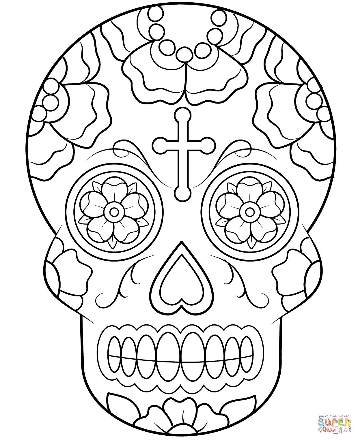Ausmalbilder Zucker Schädel ( Calavera ) - Malvorlagen mit Totenkopf Bilder Zum Ausmalen