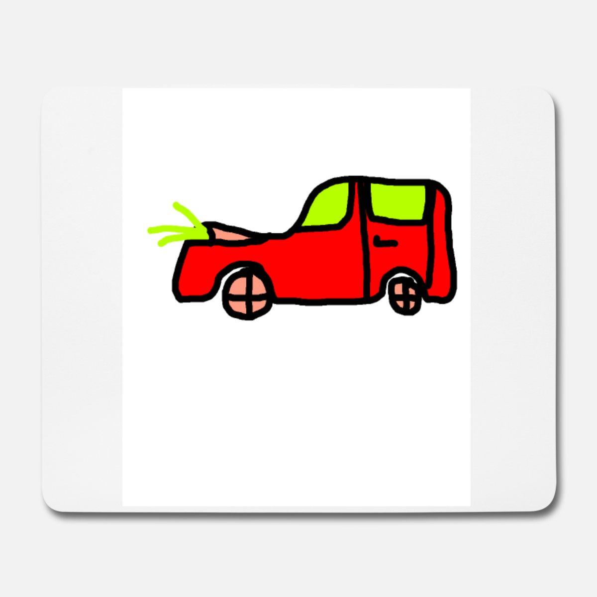 Auto Kinder Gezeichnet Mousepad (Querformat) - Weiß verwandt mit Auto Bilder Gezeichnet