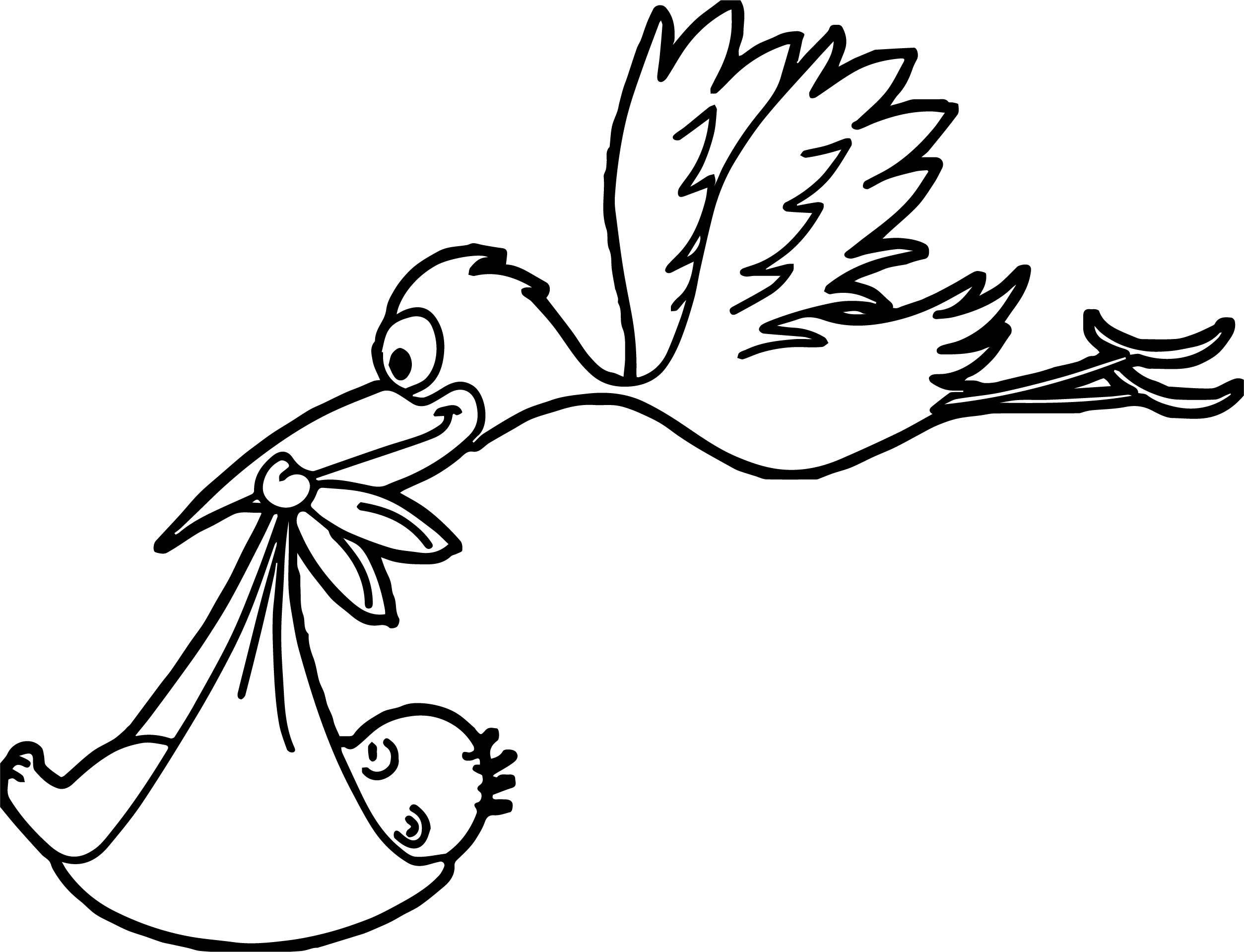 Awesome Stork Flying Baby Coloring Page | Kleurplaten verwandt mit Storch Zum Ausmalen