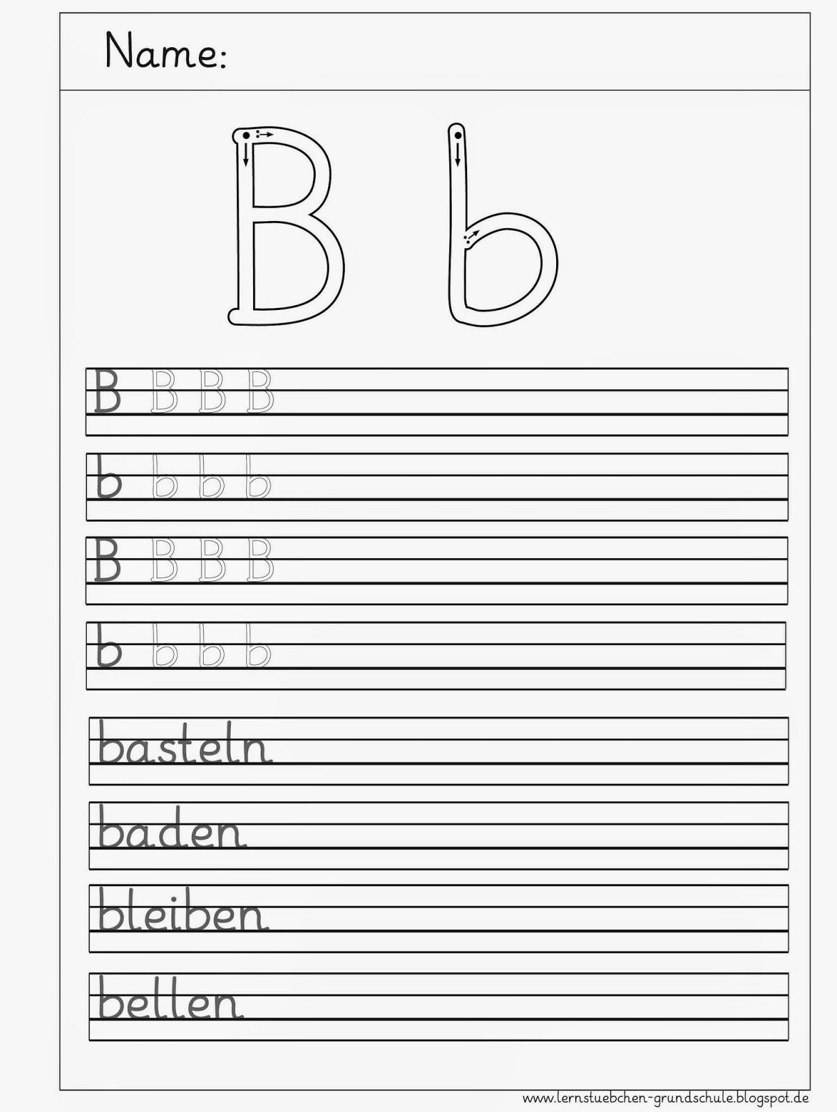 B- Schreibblätter (Mit Bildern) | Buchstaben Lernen, Schön in Grundschrift Arbeitsblätter