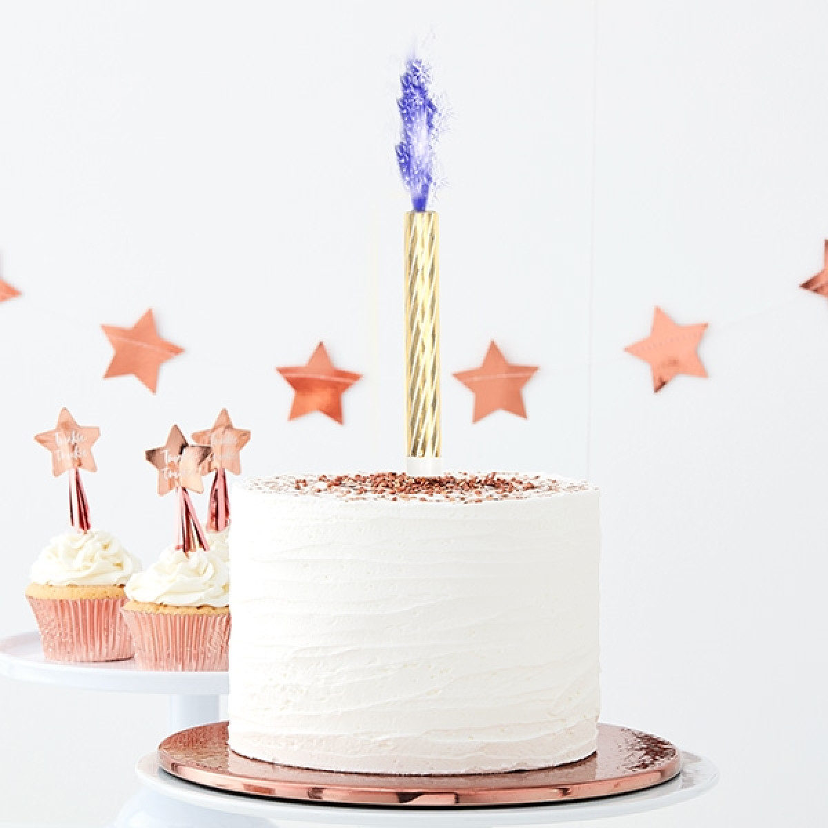 Babyparty Tortenfontänen, 3 Stk, Blaue Flamme, Wunderkerzen, 15Cm mit Wunderkerzen Für Torten