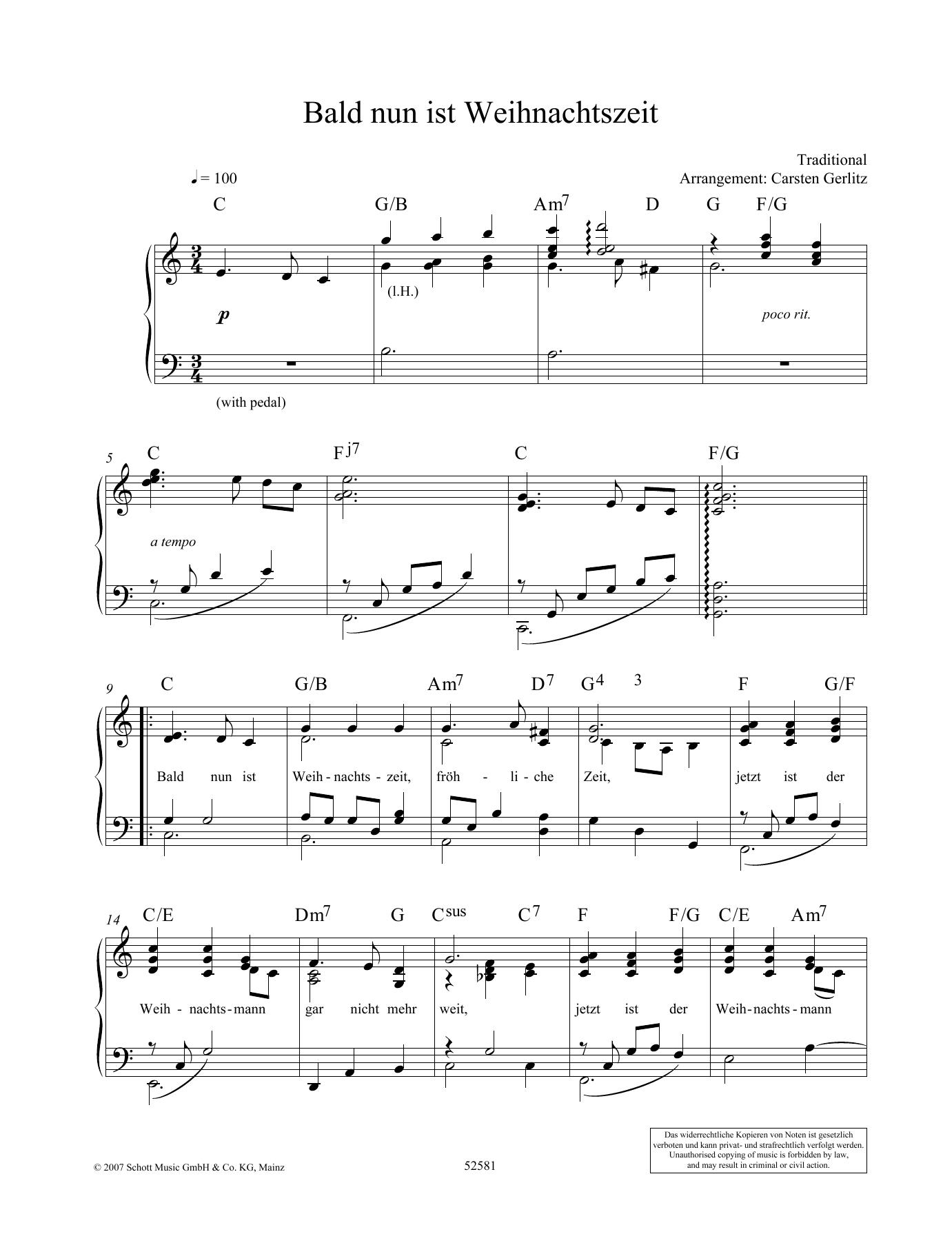 Bald Nun Ist Weihnachtszeit Noten | Carsten Gerlitz | Klavier Solo in Bald Nun Ist Weihnachtszeit Text