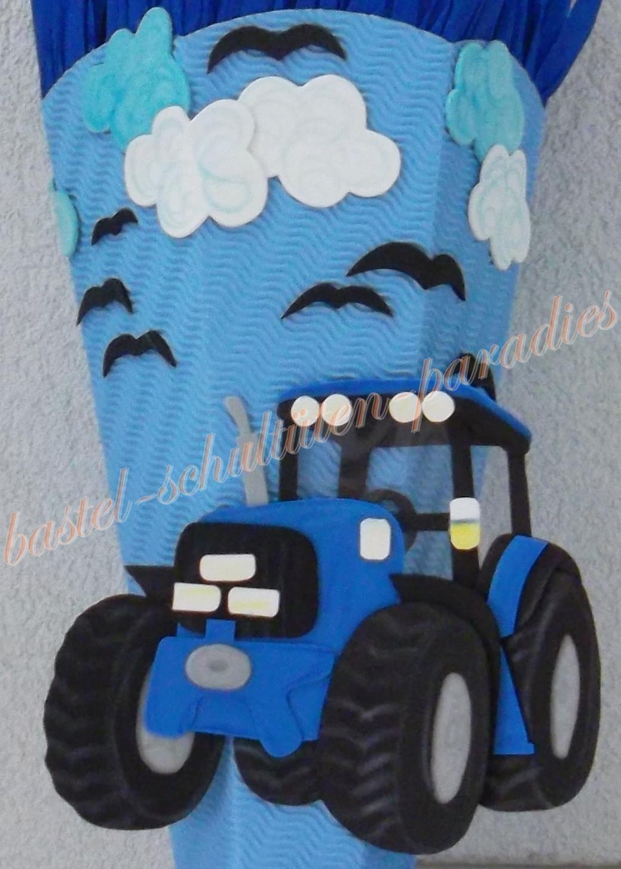 Bastelanleitung Traktor Blau (Nur Motiv) innen Trecker Bastelvorlage