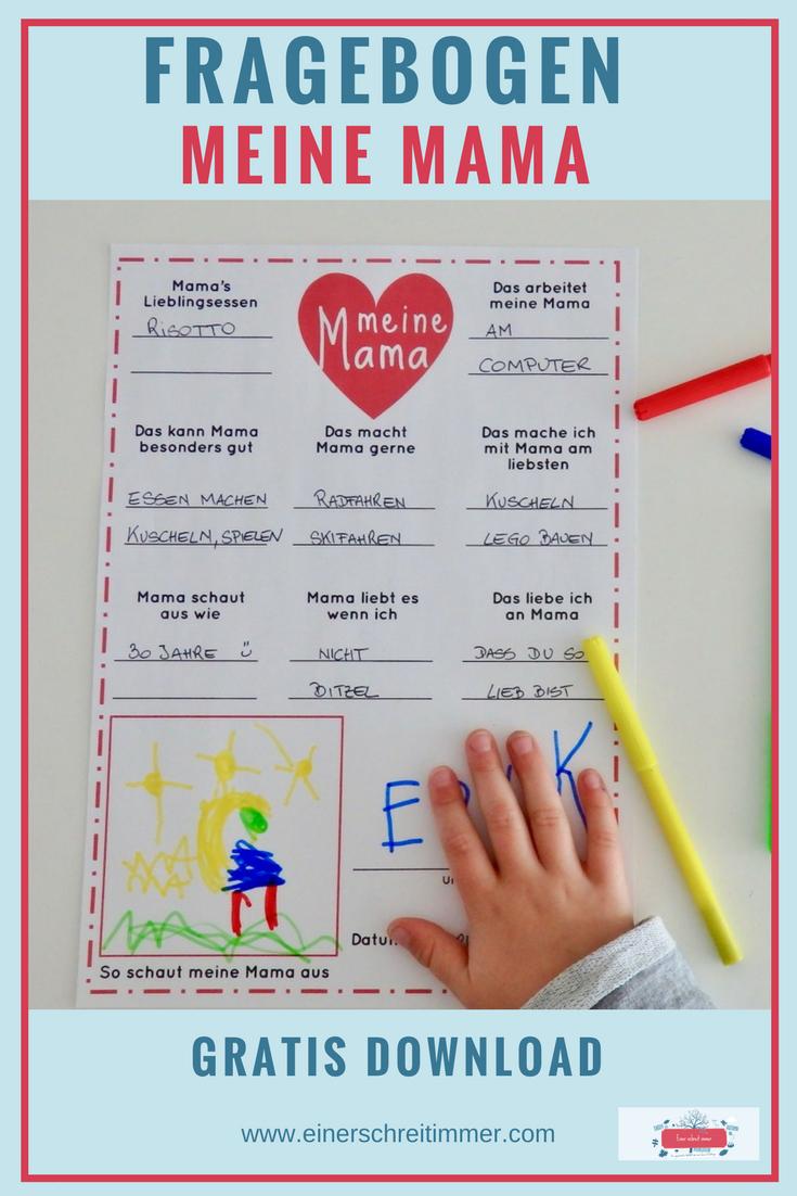 Basteln Für Den Muttertag Inkl. Mama-Fragebogen Als Download innen Was Kann Man Zum Muttertag Machen