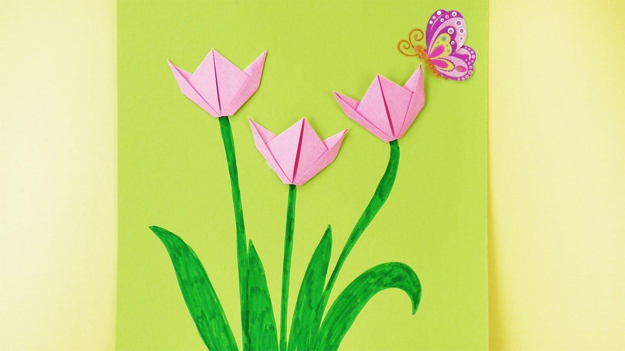 Basteln Mit Kindern | Frühling | Origami Tulpen Falten | Frühlingsdeko Fürs  Zimmer über Basteln Mit Kindern Frühling Vorlagen