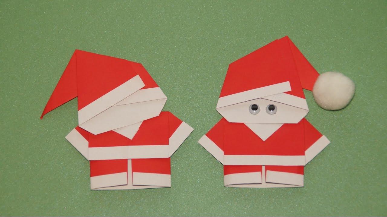 Basteln Zu Weihnachten: Weihnachtsmann Falten (Origami) über Weihnachtsmann Bastelvorlage