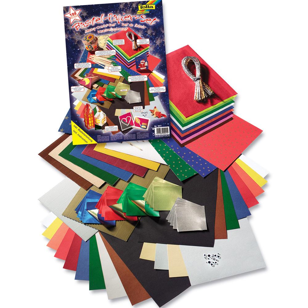Bastelpapier-Set Weihnachten, 198 Teile innen Bastelpapier Weihnachten