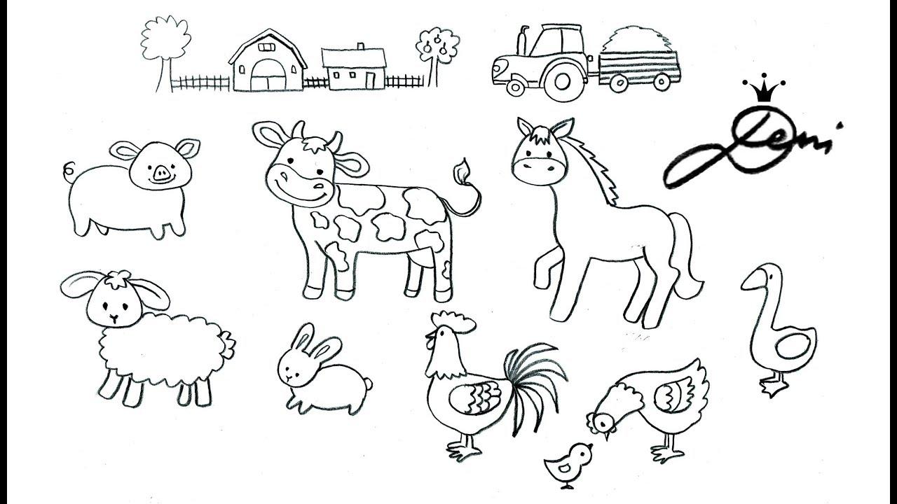 Bauernhof Zeichnen Ganz Einfach 🐮 Tiere Schnell Malen 🐷 Bauernhoftiere  Zum Ausmalen Für Kinder über Tiere Einfach Zeichnen