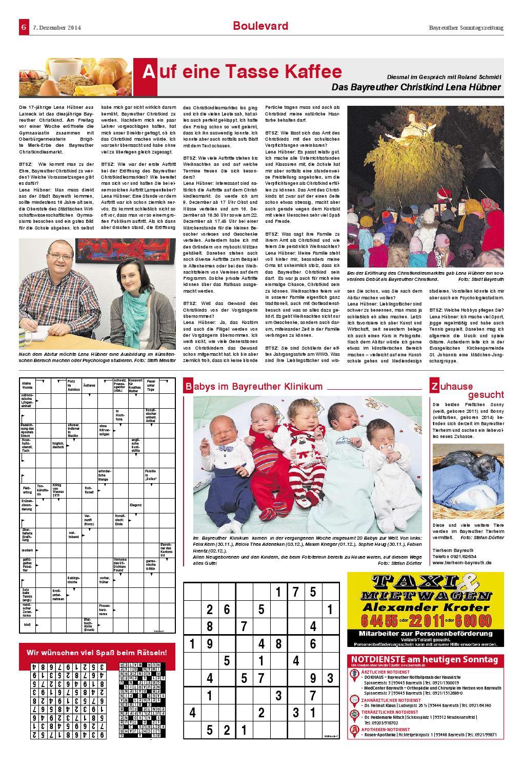 Bayreuther Sonntagszeitung 07 12 2014 By Bayreuther verwandt mit Geflügeltes Fabeltier Rätsel