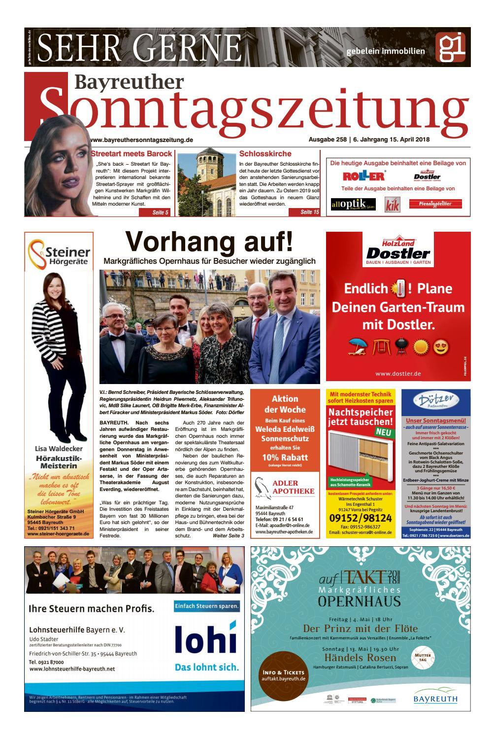 Bayreuther Sonntagszeitung Vom 15 04 2018 By Bayreuther ganzes Roller Bayreuth Öffnungszeiten