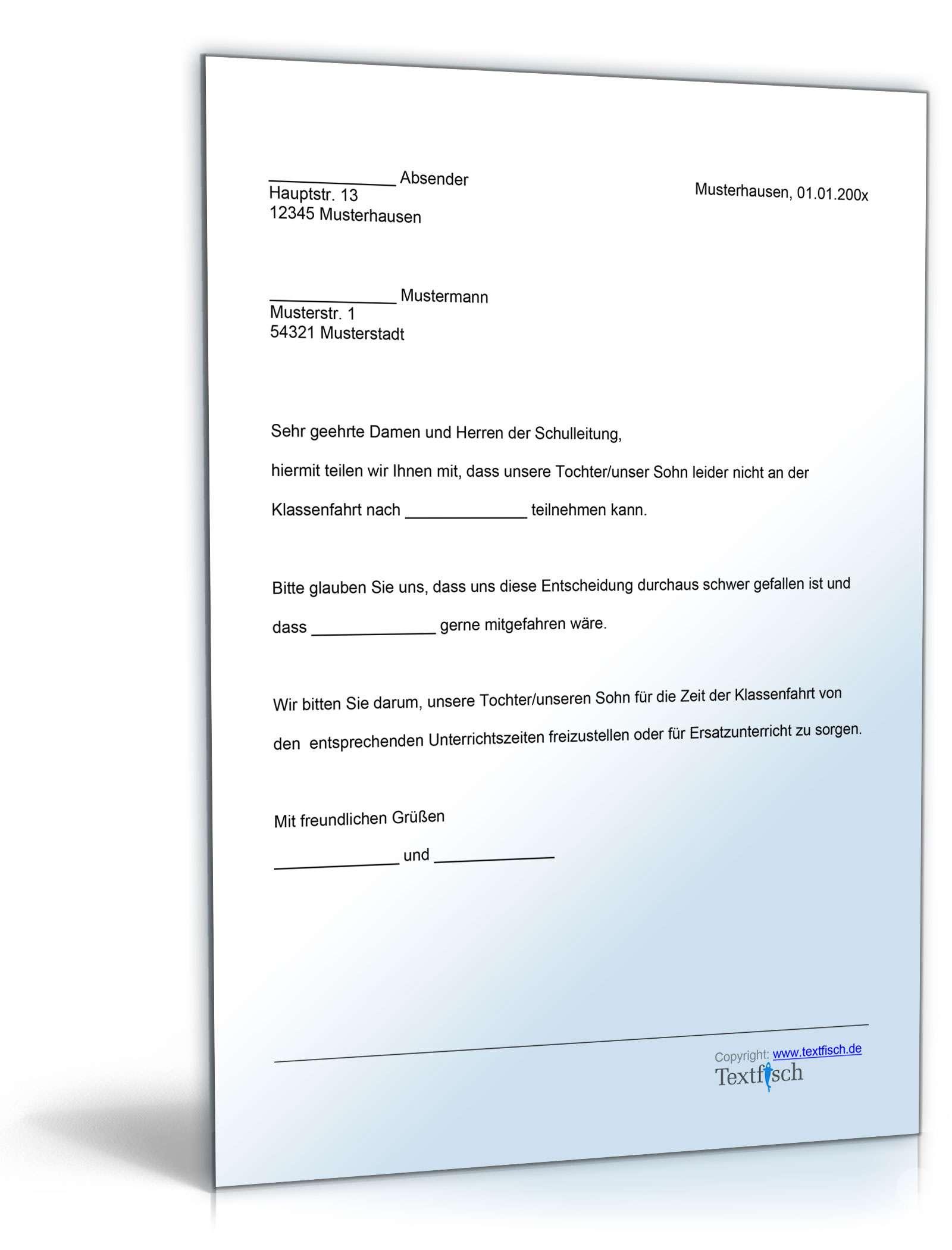 Befreiung Teilnahme Klassenfahrt | Muster Zum Download über Wie Schreibt Man Eine Entschuldigung Für Die Schule