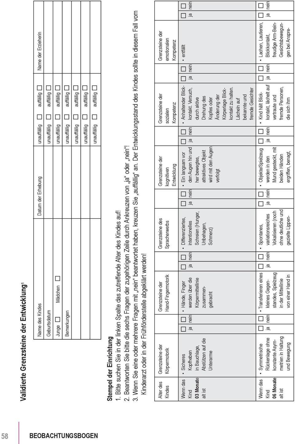 Beobachtungsbogen Zu Den Grenzsteinen Der Entwicklung - Pdf für Kognitive Entwicklung Kind Tabelle