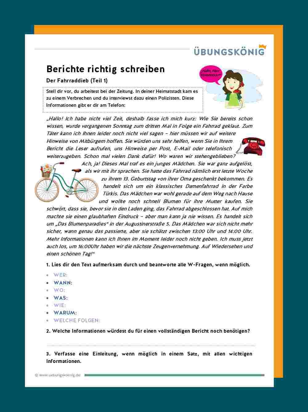 Bericht Schreiben ganzes Texte Verfassen Grundschule 4 Klasse