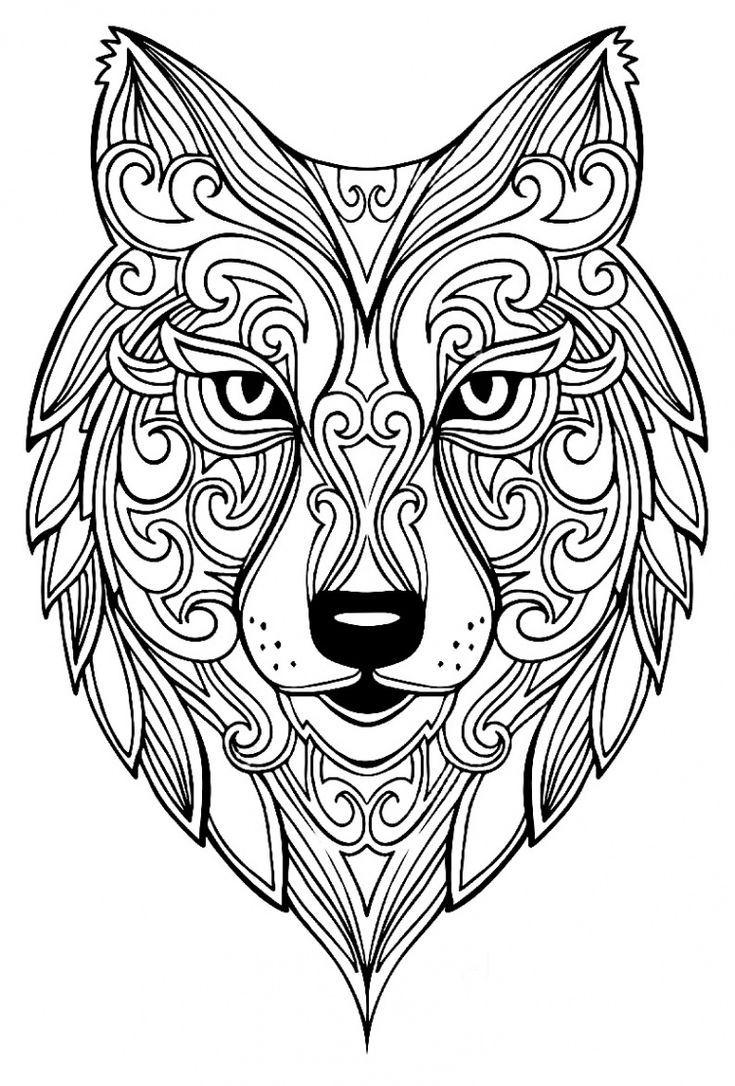 Big Wolf – Coloring Animal – 100% Zen Mandalas & Anti-Stress bei Tier Mandalas