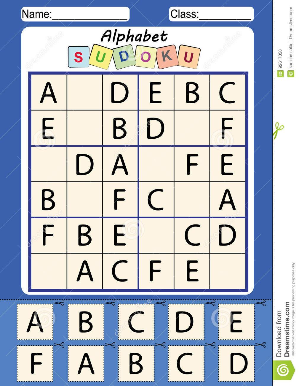 Bild Sudoku Für Kinder, Ausschneiden Und Einfügen Stock für Sudoku Für Kindergartenkinder
