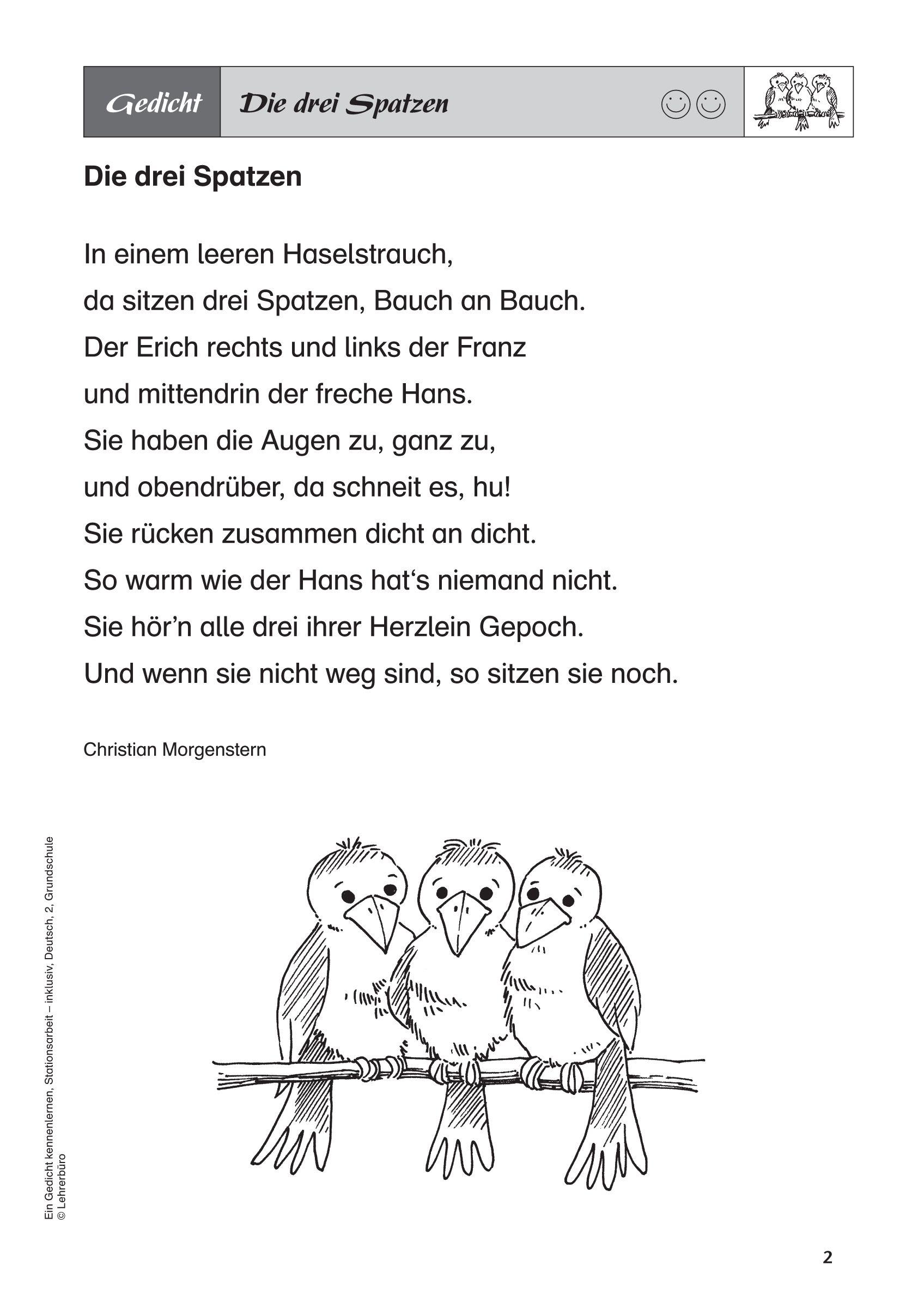 Bildergebnis Für Drei Spatzen Gedicht | Gedicht Winter für Weihnachtsgedichte Grundschule