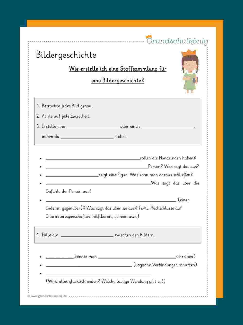 Bildergeschichte mit 4 Klasse Deutsch Geschichte Schreiben