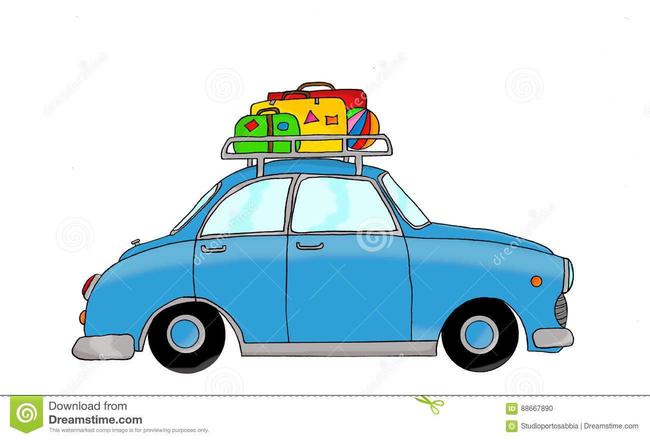 Blaues Retro- Auto Mit Gepäck Stock Abbildung - Illustration ganzes Auto Bilder Gezeichnet