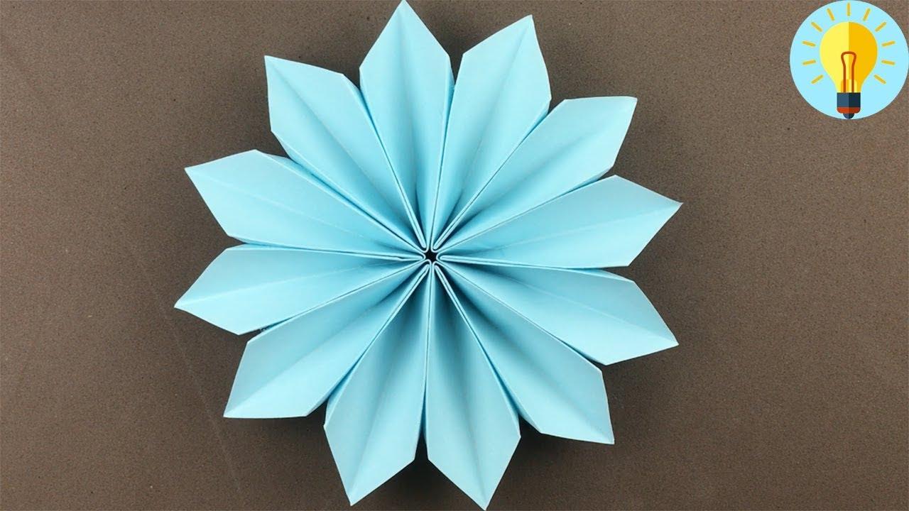 Blume Basteln Mit Papier  Blume Falten Einfach Kinder  Diy Bastelideen bestimmt für Basteln Mit Papier Für Kleinkinder