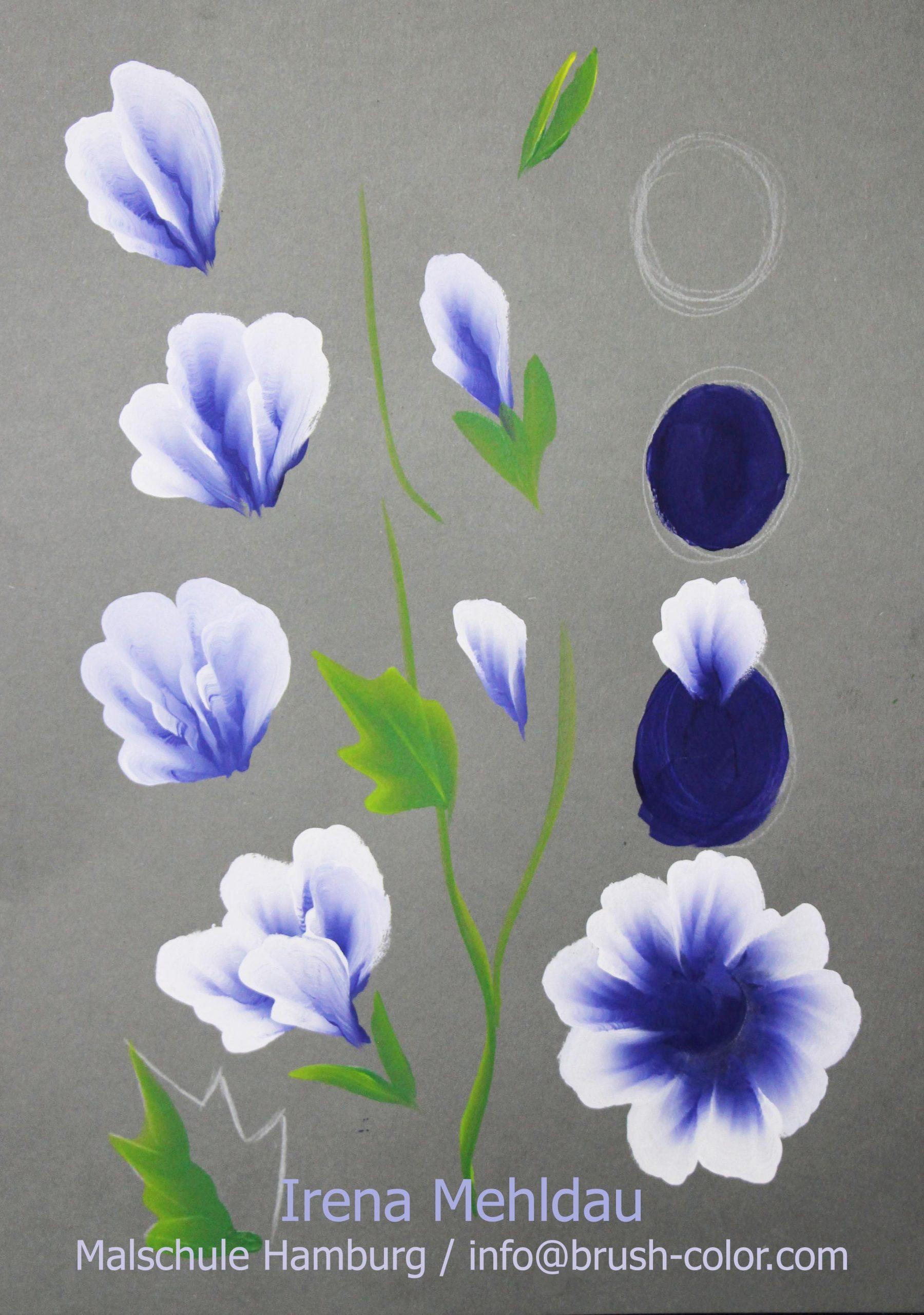 Blüten Malanleitungen One Stroke Vorlagen (Mit Bildern in Acrylbilder Malen Vorlagen