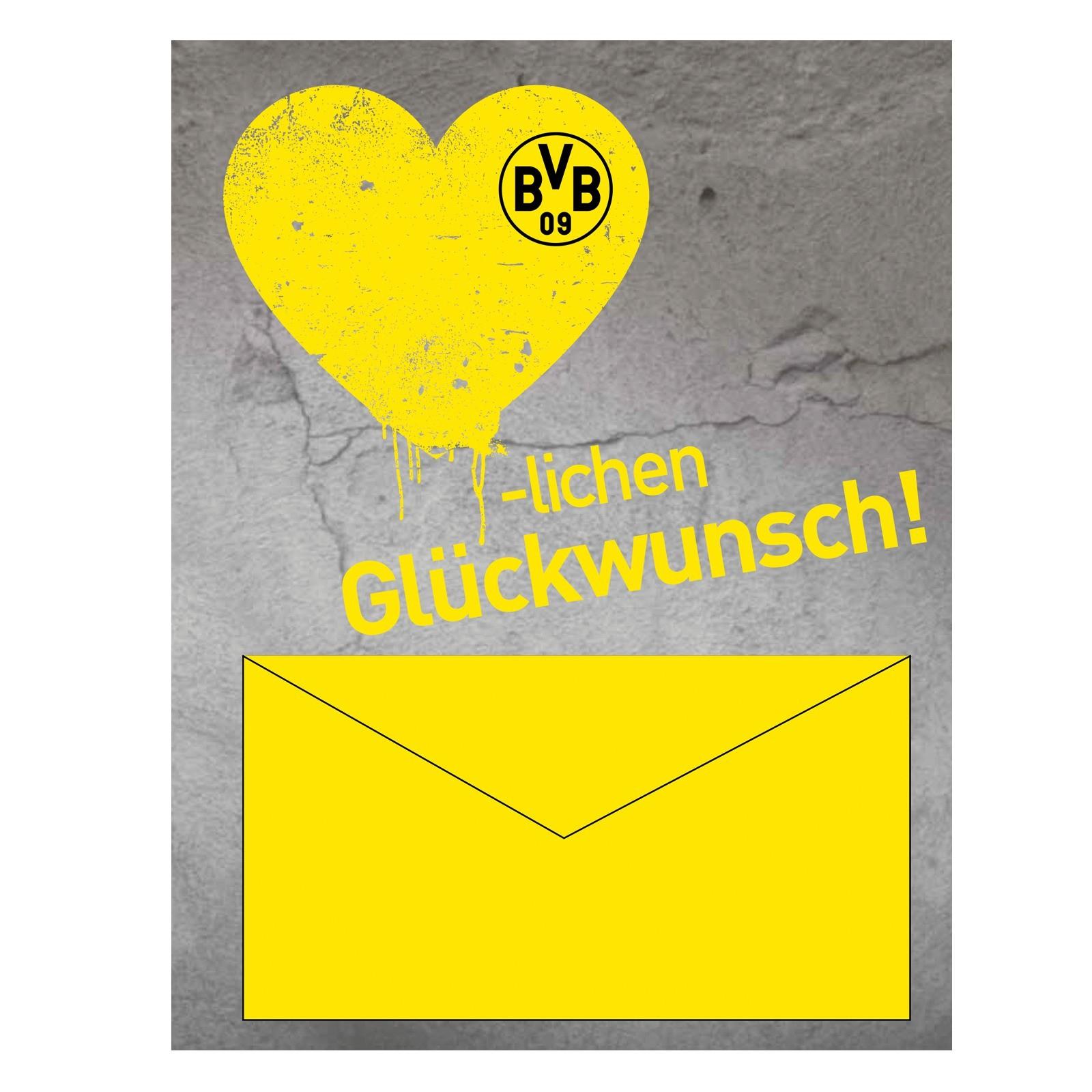Borussia Dortmund Geldscheinkarte, Glückwunschkarte innen Bvb Geburtstagskarte