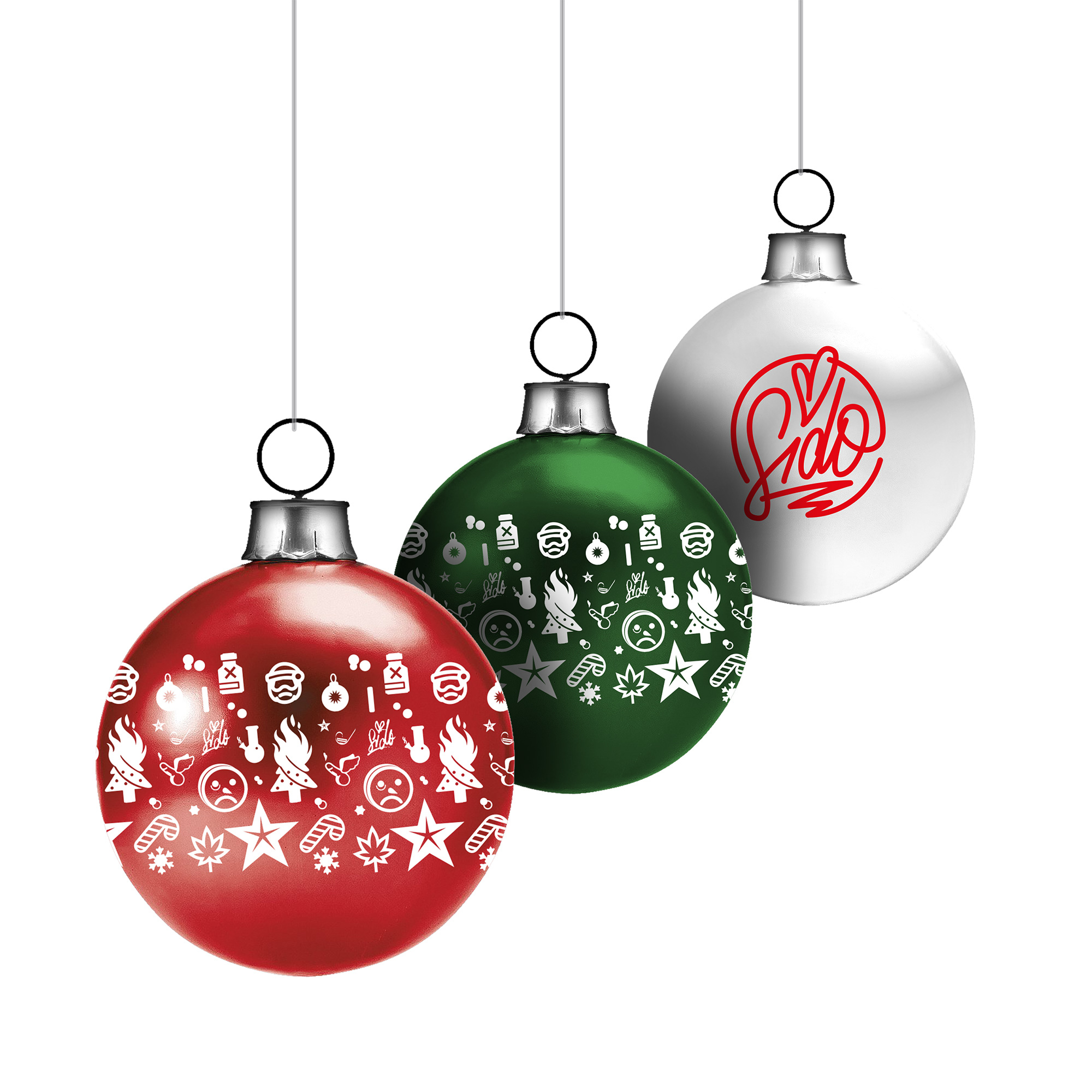 Bravado - Allover & Logo - Sido - Weihnachtskugeln 3-Er Set innen Weihnachtskugeln Comic