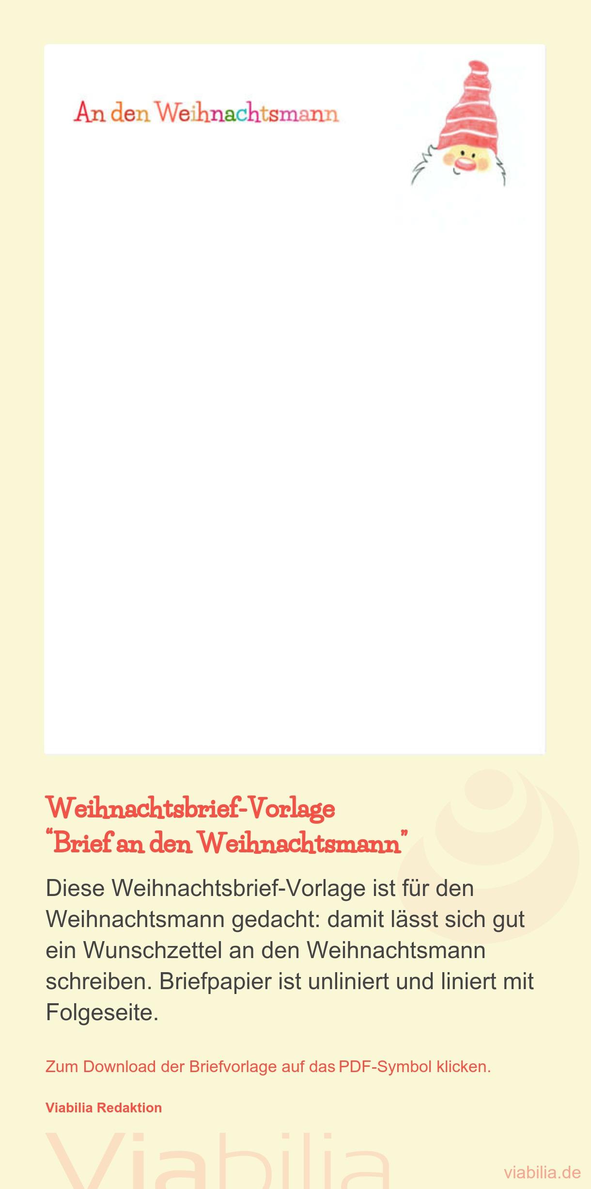 Brief An Den Weihnachtsmann Als Pdf - Weihnachtsbriefpapier in Brief Vom Nikolaus Vorlage