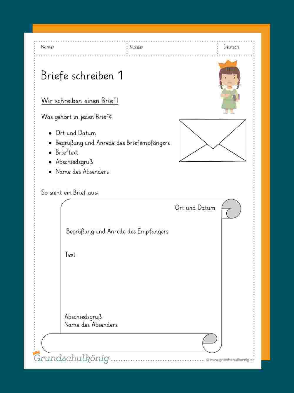Briefe Schreiben innen Texte Verfassen Grundschule 4 Klasse