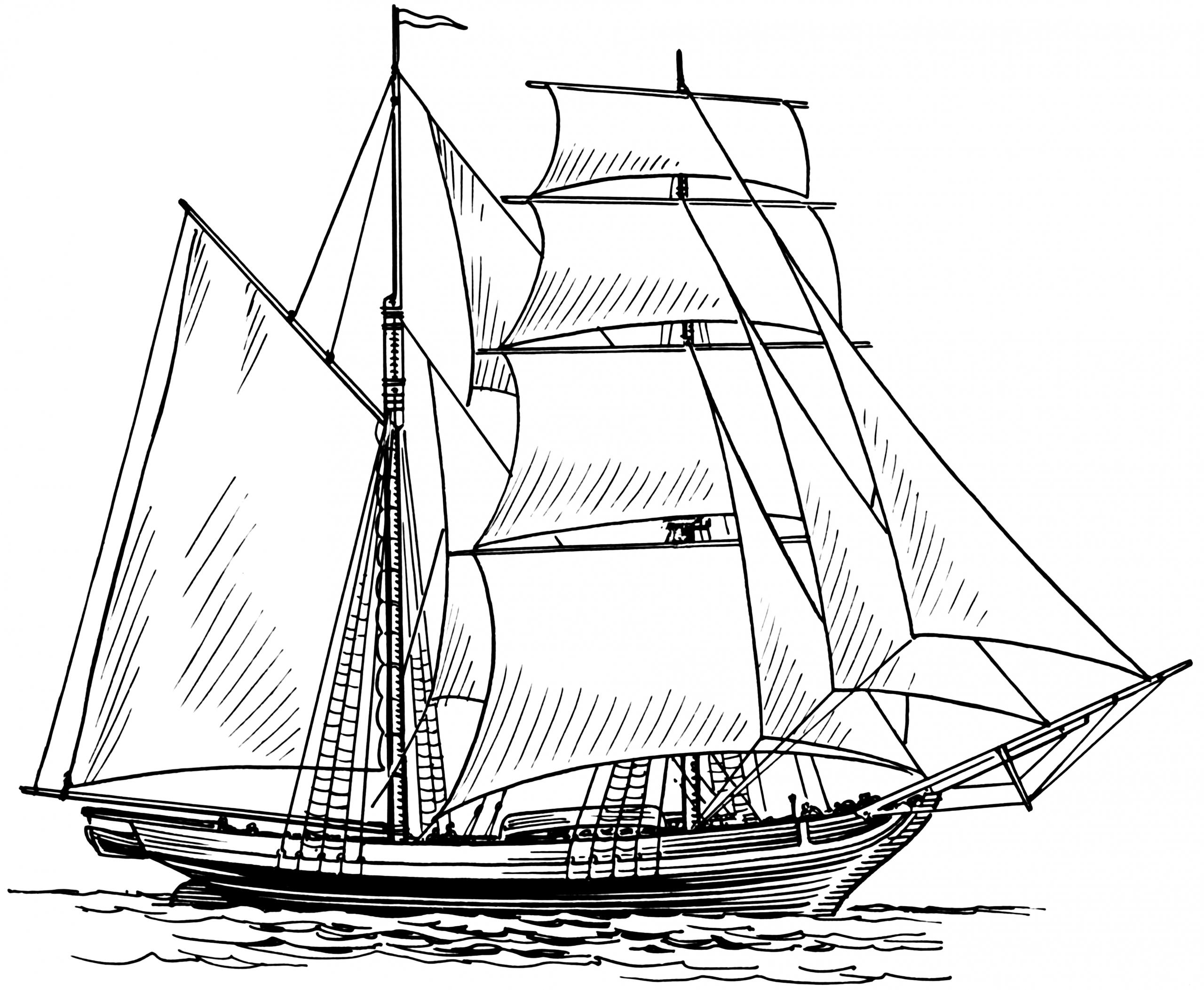 Brigantine (Schiff) über Schiff Zeichnung