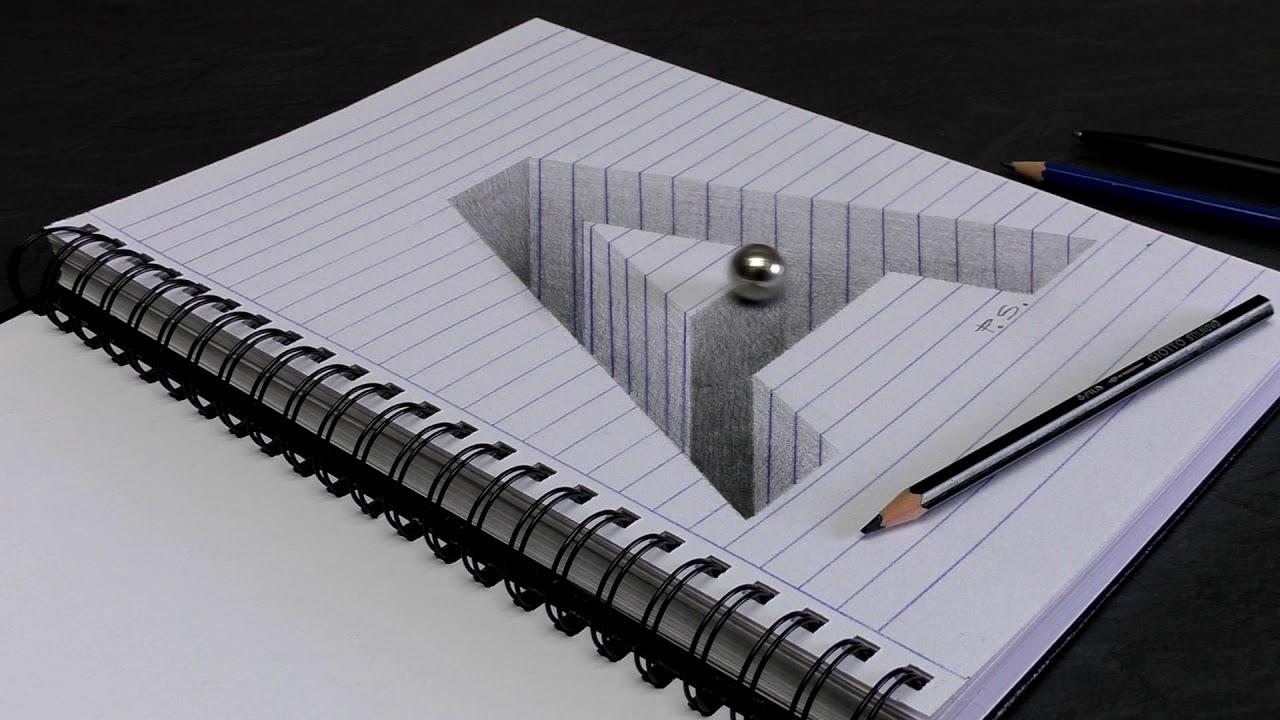 Buchstabe A Gezeichnet In 3D Als Loch/ Optische Täuschung für Optische Täuschungen Zum Selber Machen