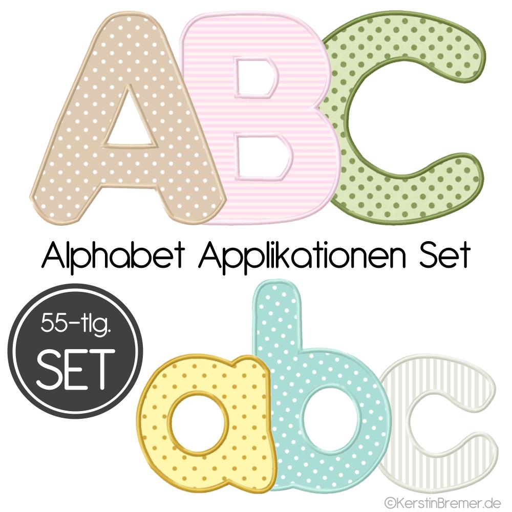 Buchstaben Applikationen Stickdateien Set innen Applikationsvorlagen Buchstaben