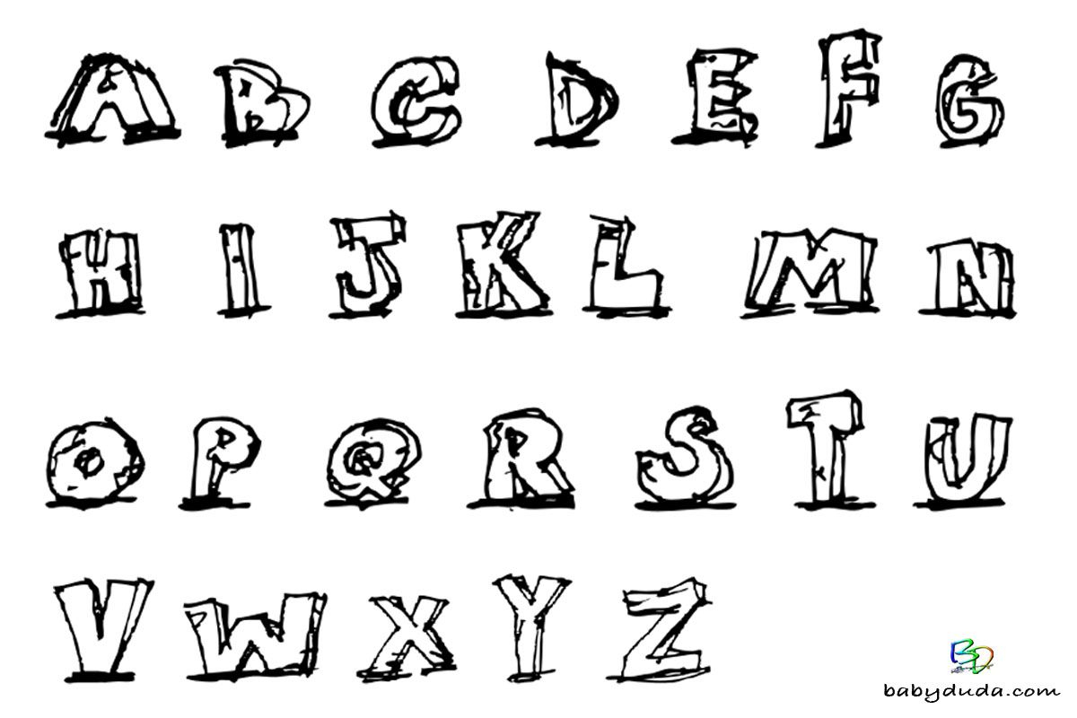 Buchstaben Ausmalen: ✎ Alphabet Malvorlagen A-Z   Alphabet in Malvorlage Buchstaben