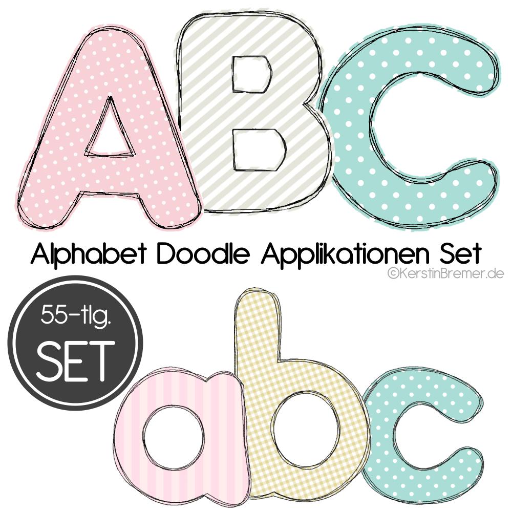 Buchstaben Doodle Applikation Stickdateien Set innen Applikationsvorlagen Buchstaben