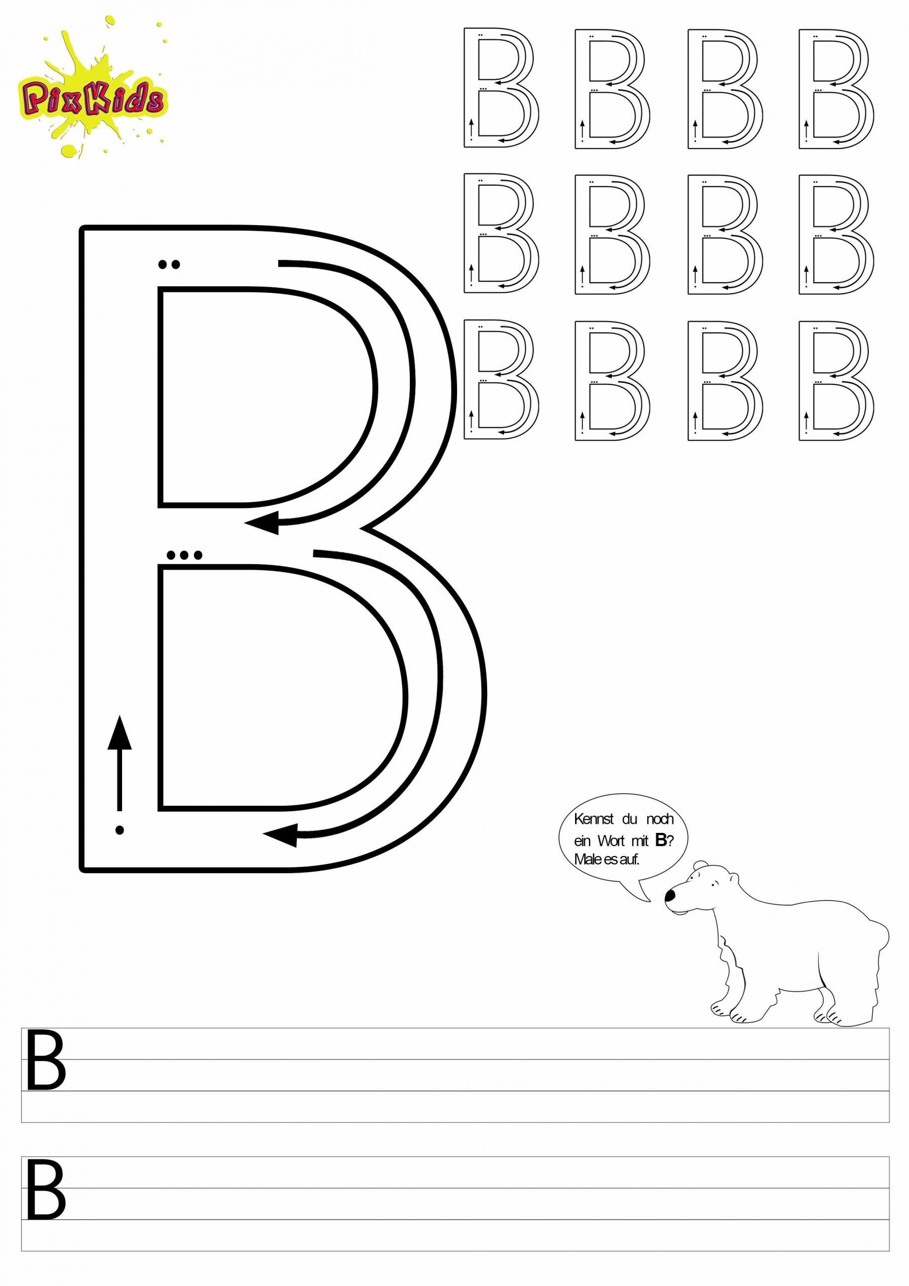 Buchstaben Lernen Arbeitsblätter – Buchstabe B - Buchstaben bestimmt für Buchstaben Lernen Arbeitsblätter Kostenlos