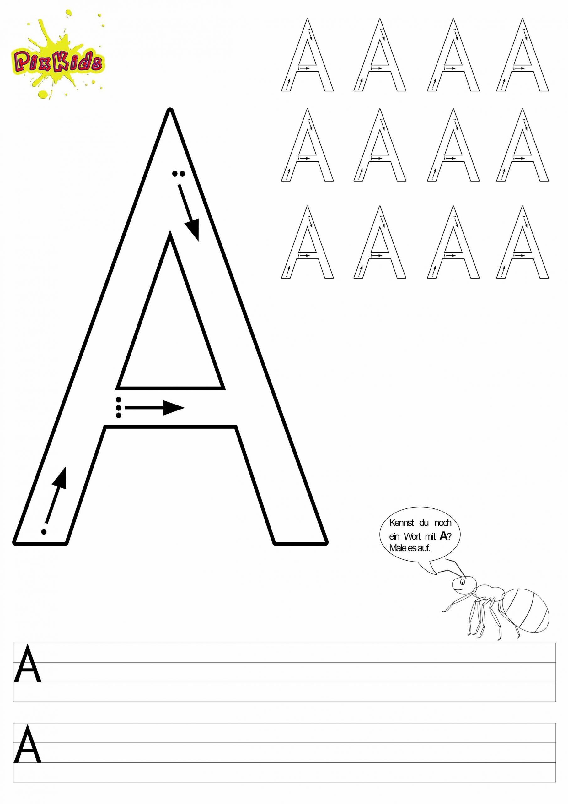 Buchstaben-Schreiben-Lernen-Arbeitsblätter-Buchstabe-A in Bilder Aus Buchstaben