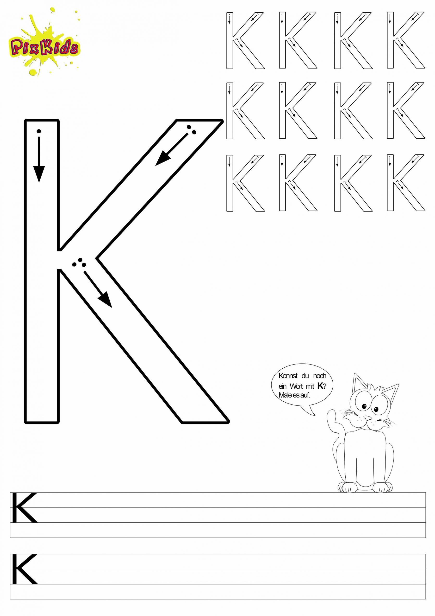 Buchstaben-Schreiben-Lernen-Arbeitsblätter-Buchstabe-K verwandt mit Alphabet Lernen Vorschule