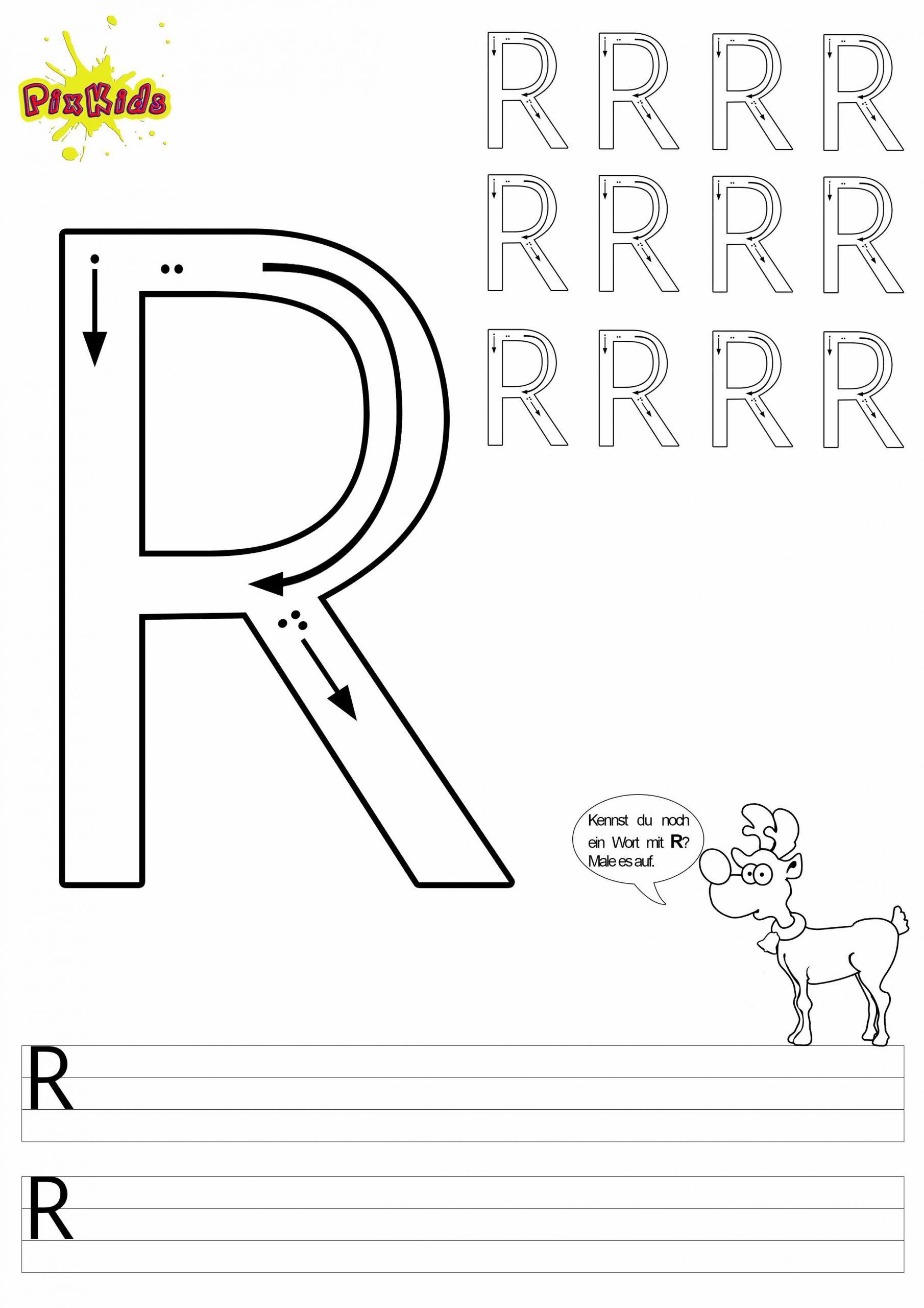 Buchstaben Schreiben Lernen Arbeitsblätter – Buchstabe R in Buchstaben Zum Ausmalen