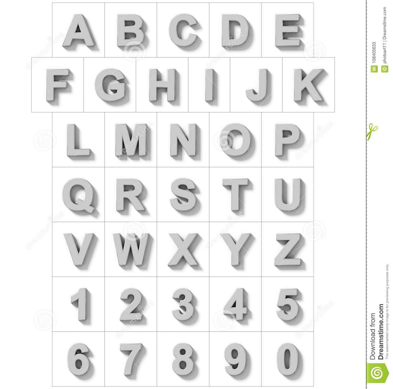 Buchstaben Und Zahlen 3D Versilbern Lokalisiert Auf Weiß Mit für Zahlen In Buchstaben