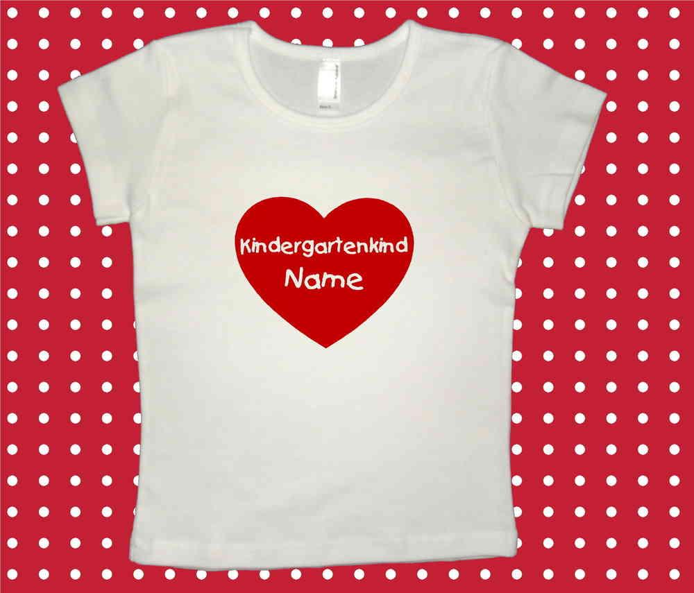 Bügelbild ♥ Herz Kindergartenkind + Name über T-Shirt Kindergartenkind