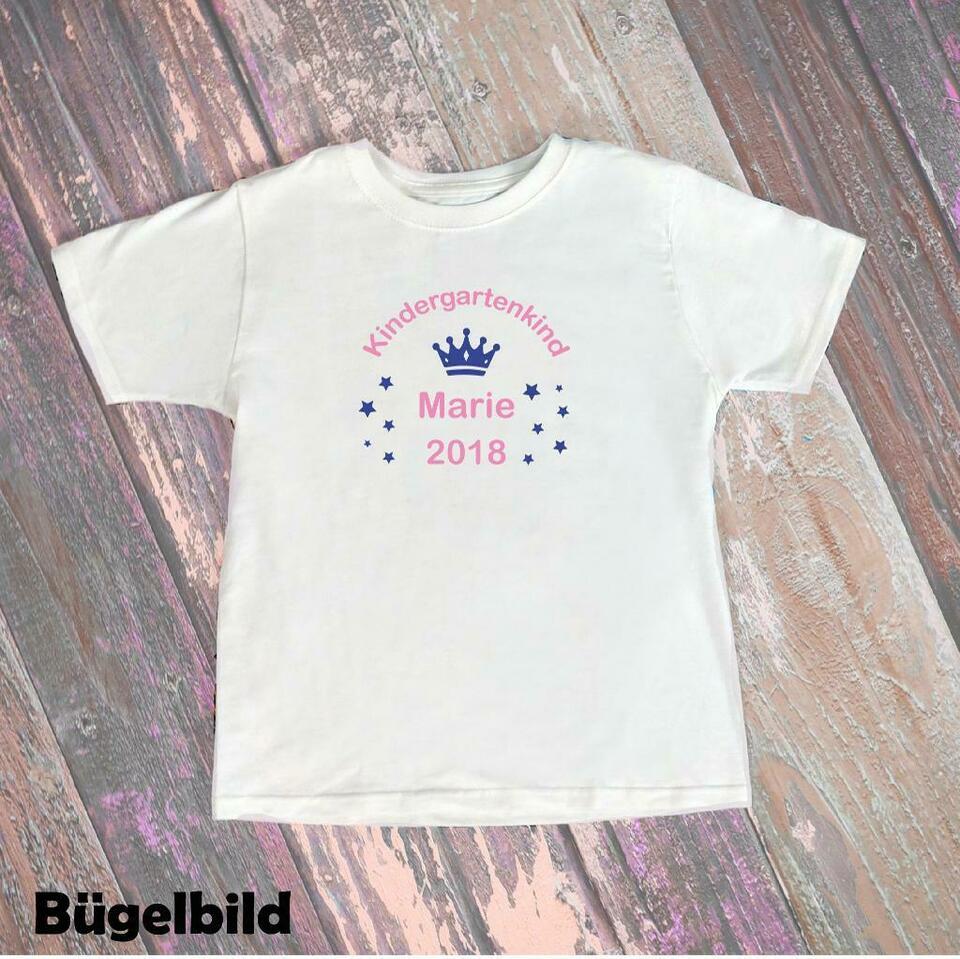 Bügelbild Kindergartenkind Krone 2019 Kita Flex Glitzer Flock bei T-Shirt Kindergartenkind