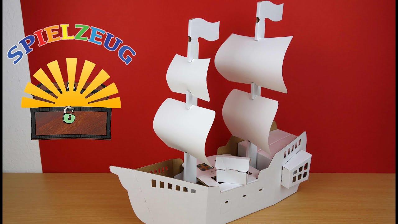 Calafant-Piratenschiff D2513X Piraten Pirates Ship Aufbauen Anmalen Basteln  Pappe Schiff Schatztruhe innen Bastelvorlage Schiff
