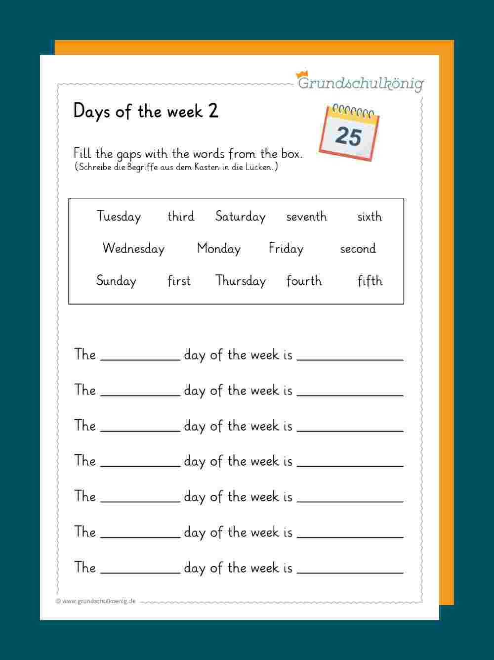 Calendar / Kalender bei Monate Arbeitsblatt