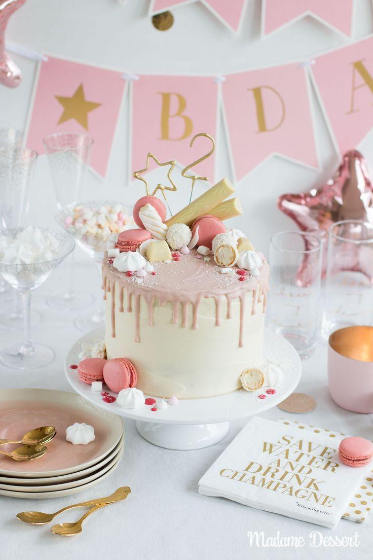 Candy Drip Cake Geburtstagstorte Mit Himbeeren & Kokos bestimmt für Geburtstagstorten Bilder