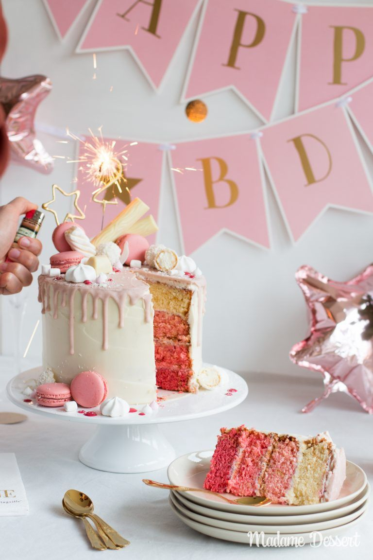 Candy Drip Cake Geburtstagstorte Mit Himbeeren & Kokos innen Geburtstagstorten Bilder